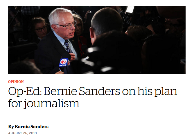 CJR: Bernie Sanders on his plan for journalism