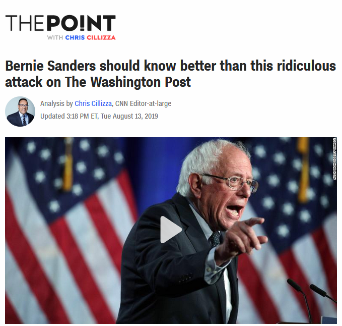 CNN: Bernie Sanders should know better than this ridiculous attack on The Washington Post