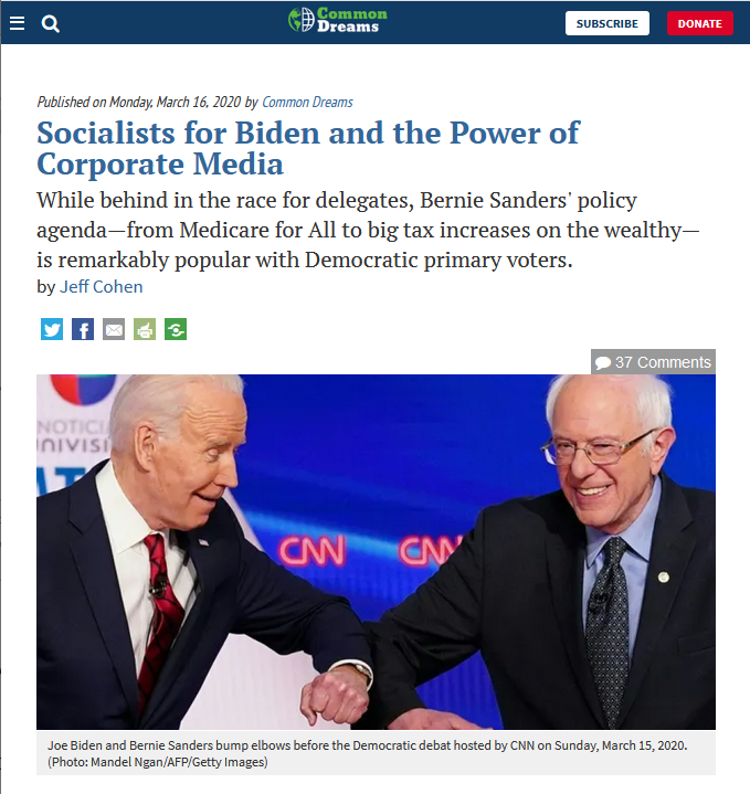 Common Dreams: Socialists for Biden and the Power of Corporate Media