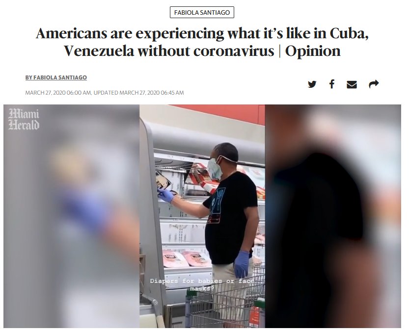 Miami Herald: Americans are experiencing what it's like in Cuba, Venezuela without coronavirus