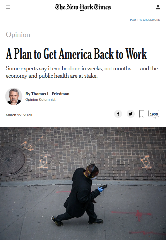 NYT: A Plan to Get America Back to Work