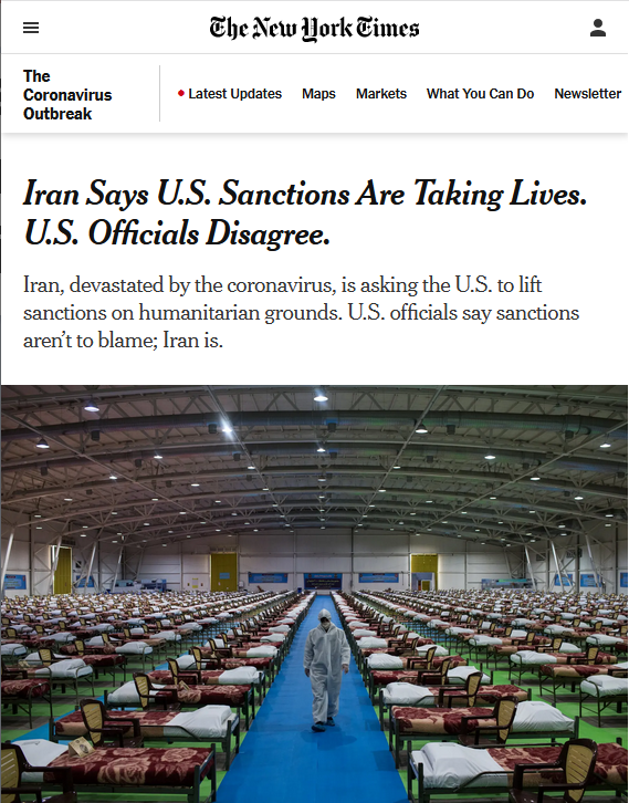 NYT: Iran Says U.S. Sanctions Are Taking Lives. U.S. Officials Disagree.