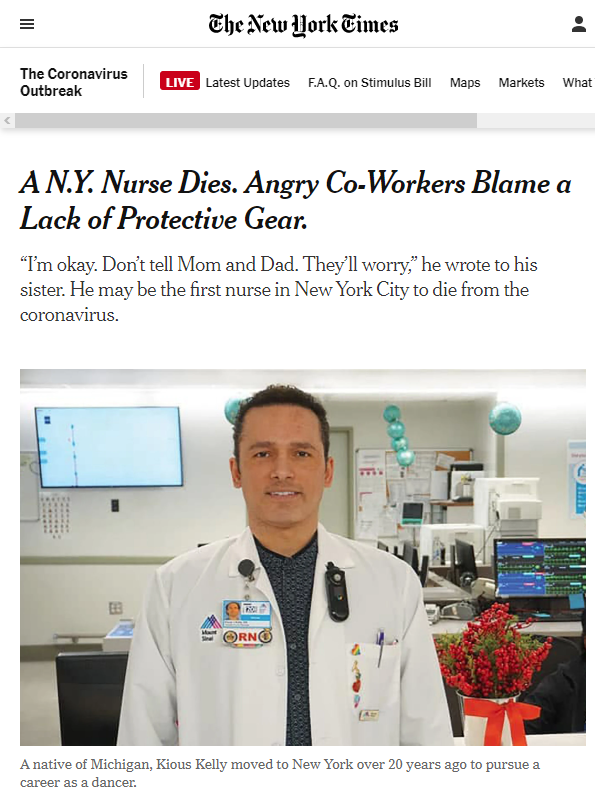 NYT: A N.Y. Nurse Dies. Angry Co-Workers Blame a Lack of Protective Gear.