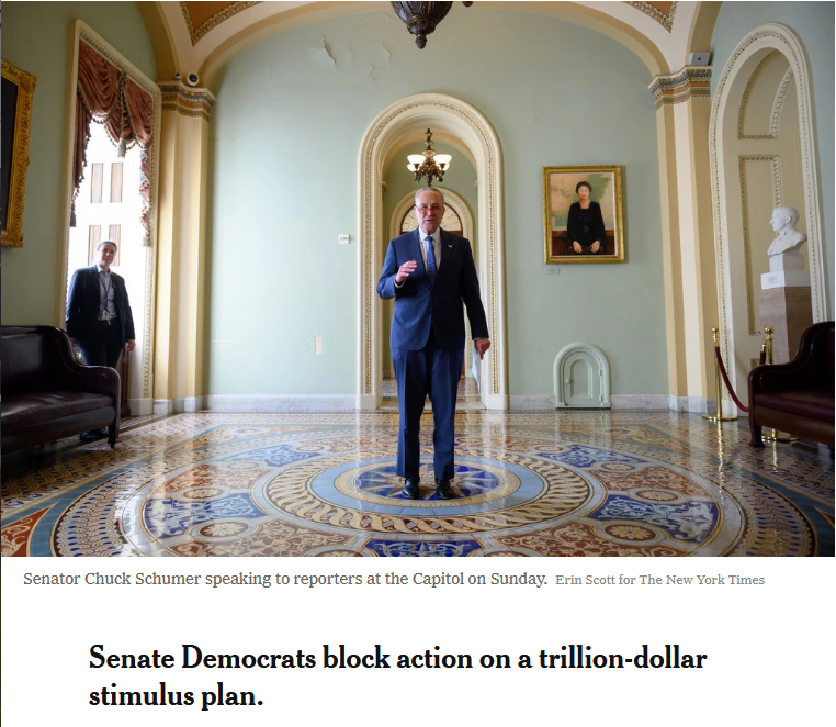 NYT: Democrats Block Action on a Trillion-Dollar Stimulus Plan