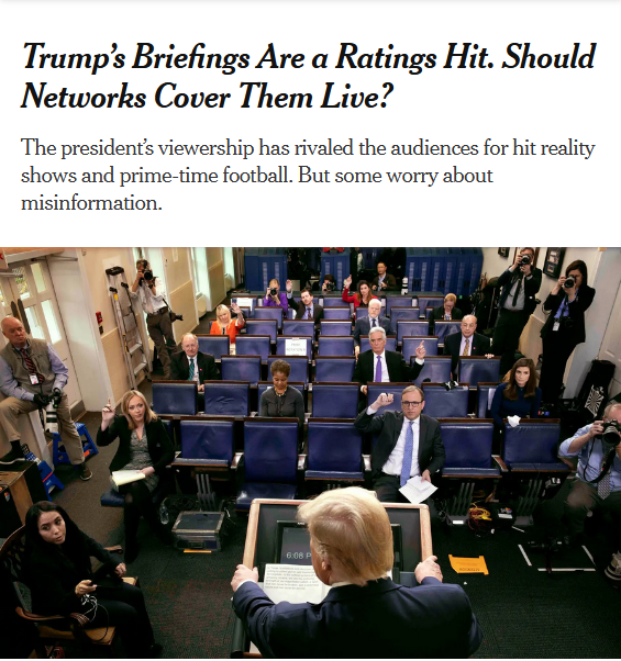 NYT: Trump's Briefings Are a Ratings Hit. Should Networks Cover Them Live?