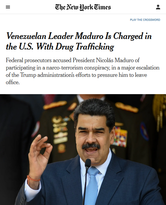 NYT: Venezuelan Leader Maduro Is Charged in the U.S. With Drug Trafficking