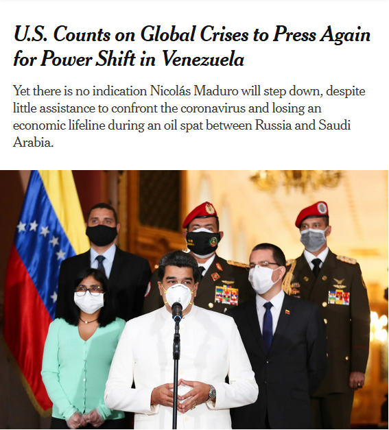 NYT: U.S. Counts on Global Crises to Press Again for Power Shift in Venezuela
