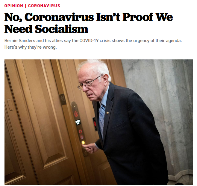 Politico: No, Coronavirus Isn't Proof We Need Socialism