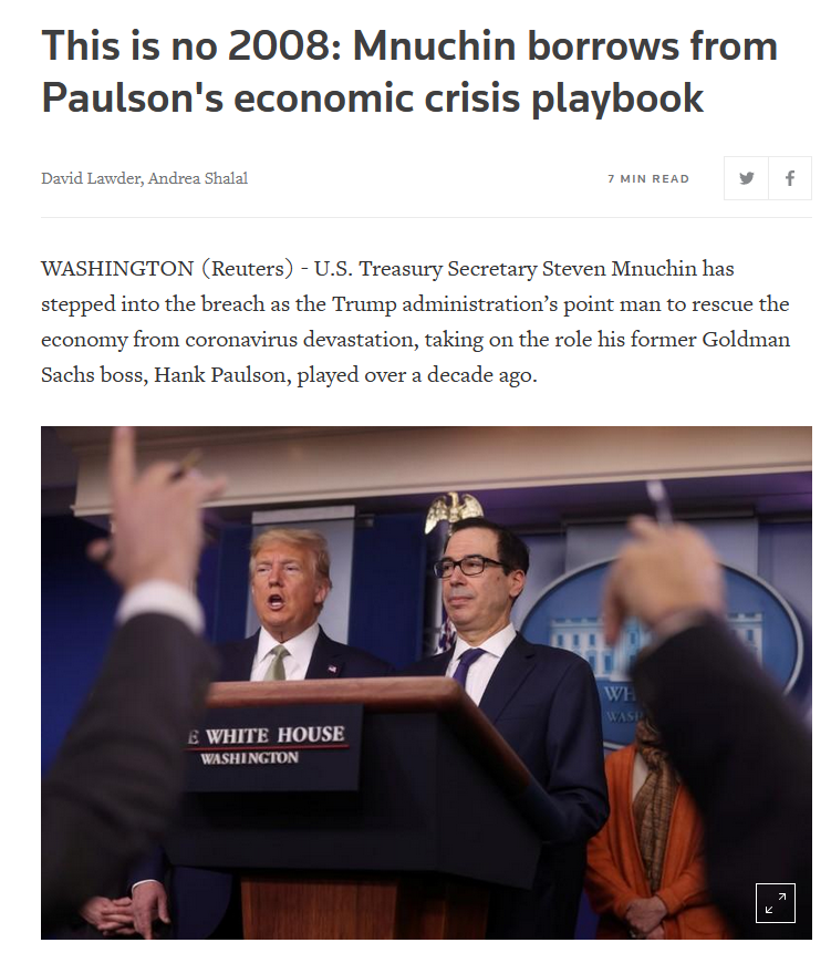Reuters: This is no 2008: Mnuchin borrows from Paulson's economic crisis playbook