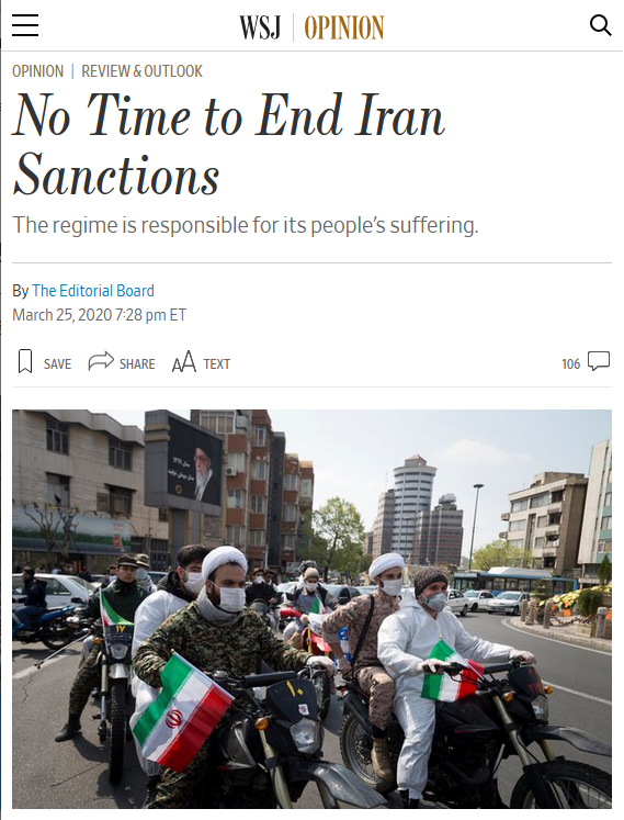 WSJ: No Time to End Iran Sanctions