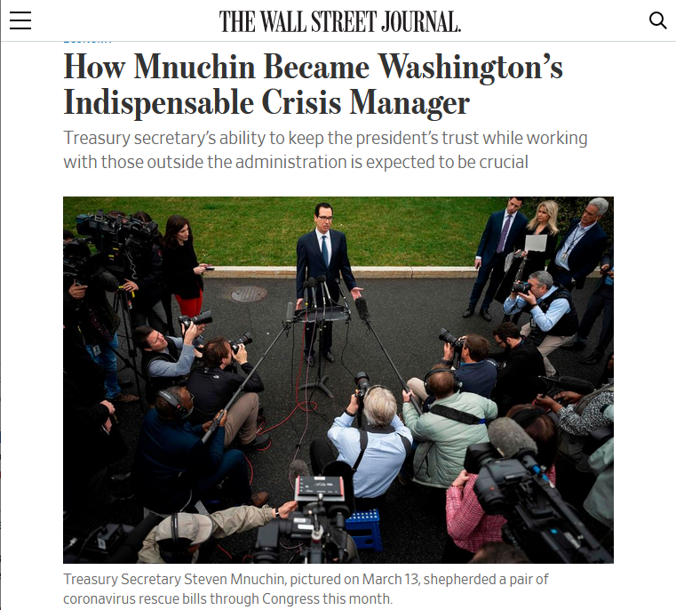WSJ: How Mnuchin Became Washington's Indispensable Crisis Manager