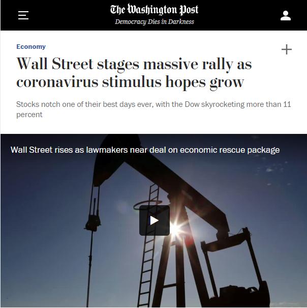 WaPo: Wall Street stages massive rally as coronavirus stimulus hopes grow