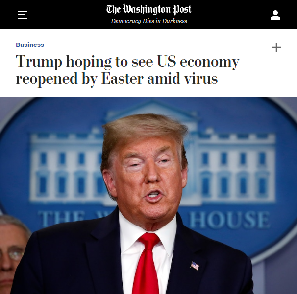 WaPo: Trump hoping to see US economy reopened by Easter amid virus