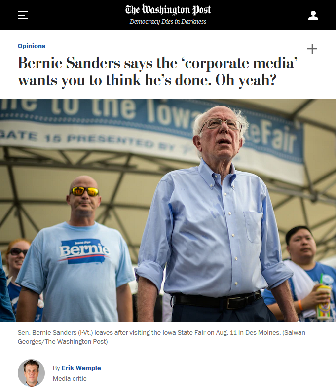 WaPo: Bernie Sanders says the 'corporate media' wants you to think he's done. Oh yeah?