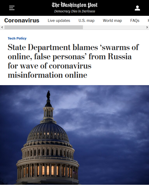 WaPo: State Department blames 'swarms of online, false personas' from Russia for wave of coronavirus misinformation online