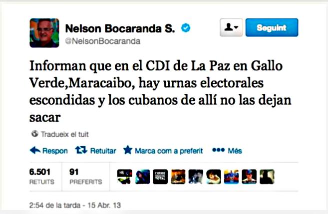 Twitter: Nelson Bocaranda