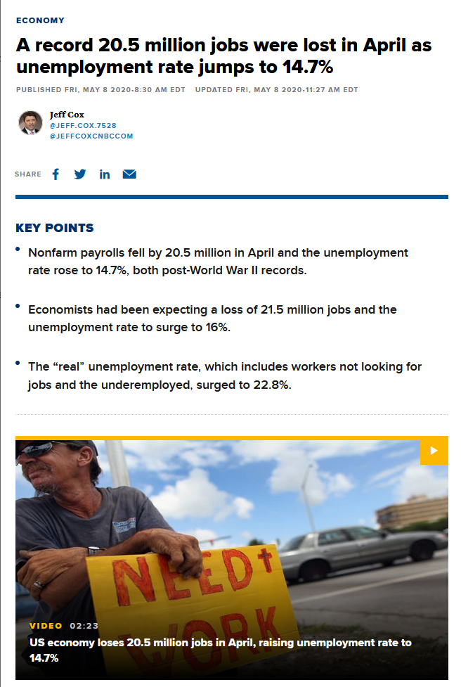 CNBC: A record 20.5 million jobs were lost in April as unemployment rate jumps to 14.7%