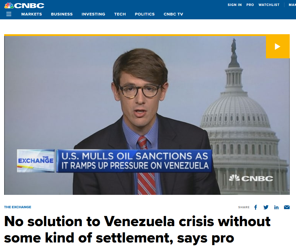 CNBC: No solution to Venezuela crisis without some kind of settlement, says pro