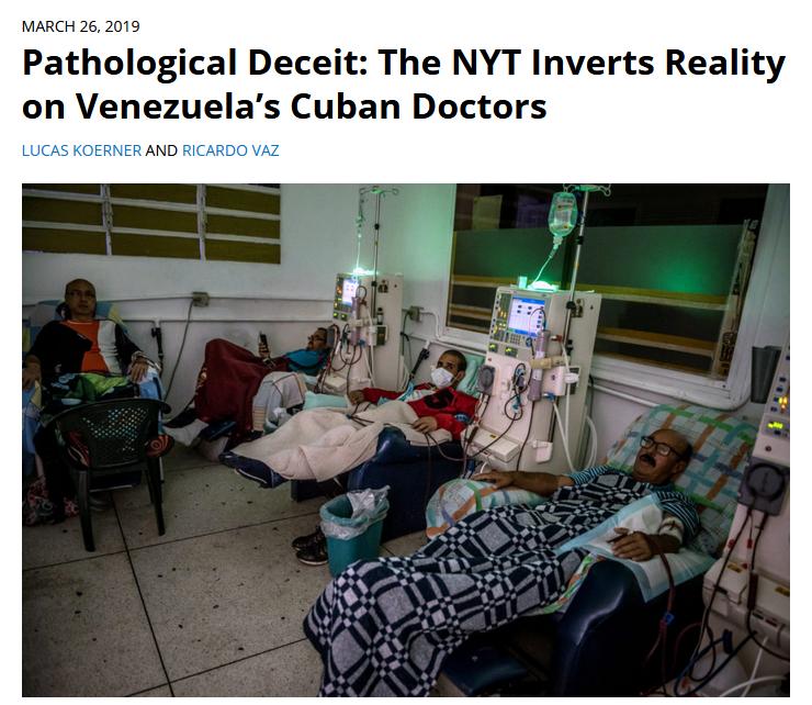 FAIR: Pathological Deceit: The NYT Inverts Reality on Venezuela's Cuban Doctors