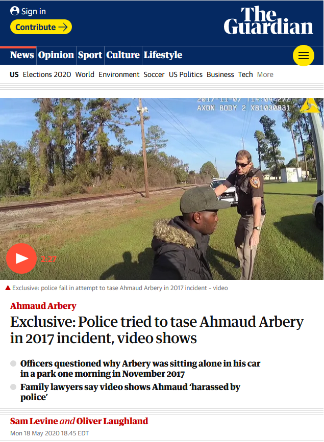 Guardian: Police tried to tase Ahmaud Arbery in 2017 incident, video shows
