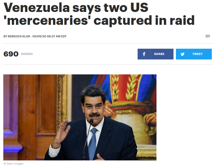 Hill: Venezuela says two US 'mercenaries' captured in raid