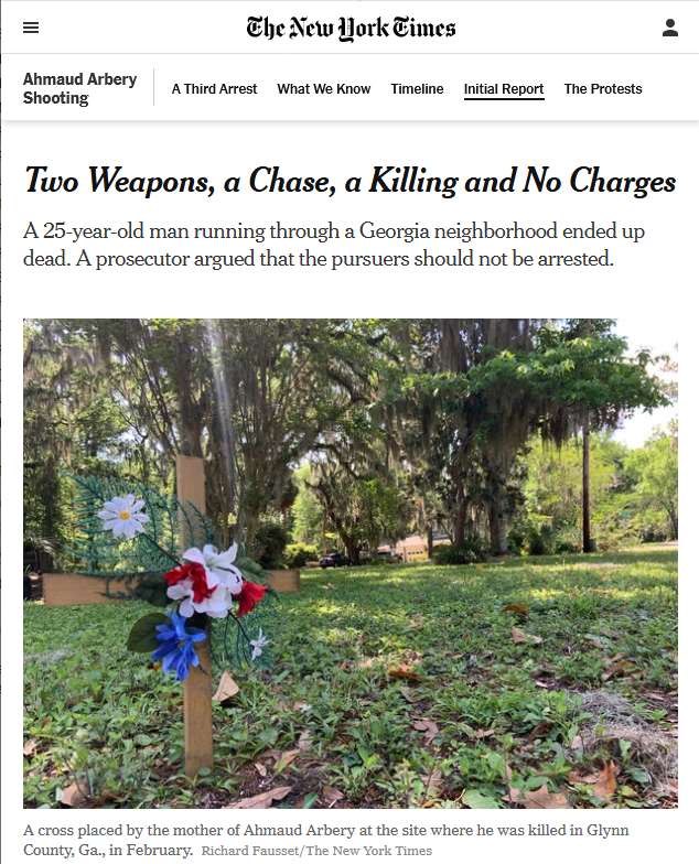 NYT: Two Weapons, a Chase, a Killing and No Charges