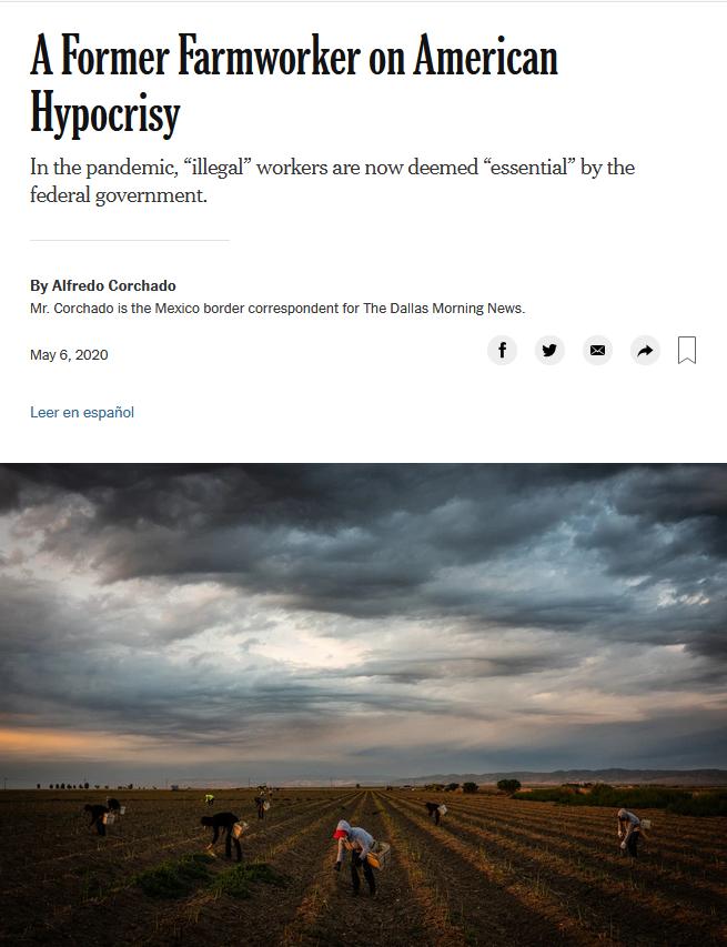 NYT: A Former Farmworker on American Hypocrisy