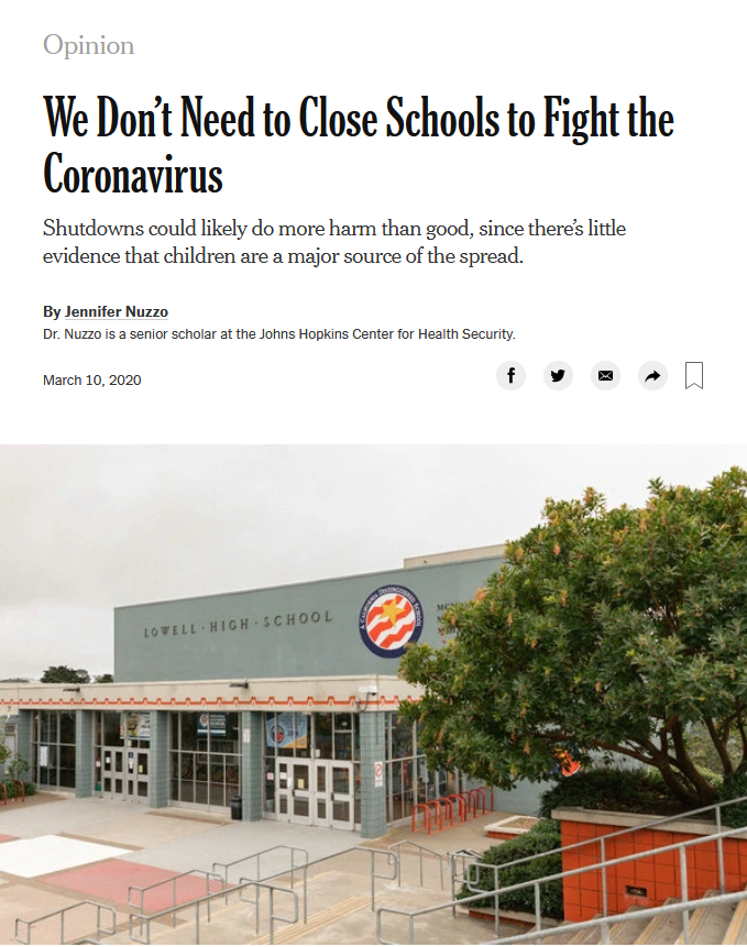 NYT: We Don't Need to Close Schools to Fight the Coronavirus