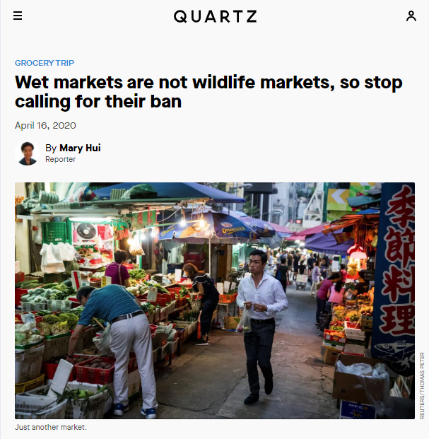 Quartz: Wet markets are not wildlife markets, so stop calling for their ban