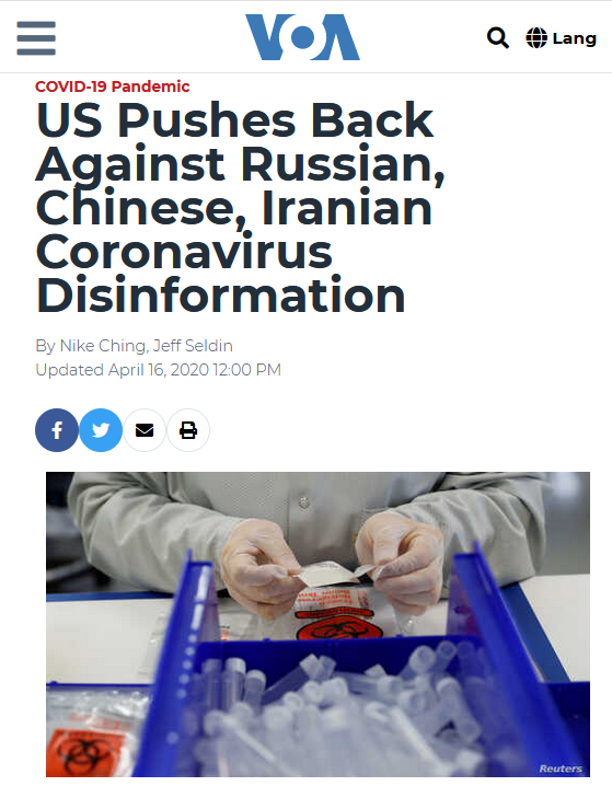 VOA::US Pushes Back Against Russian, Chinese, Iranian Coronavirus Disinformation