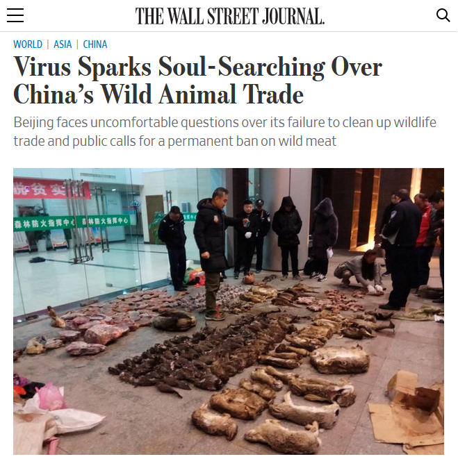 WSJ: Virus Sparks Soul Searching Over China's Wild Animal Trade