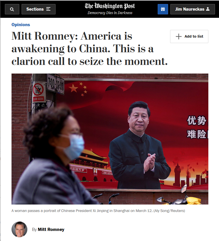 WaPo: America is awakening to China. This is a clarion call to seize the moment.