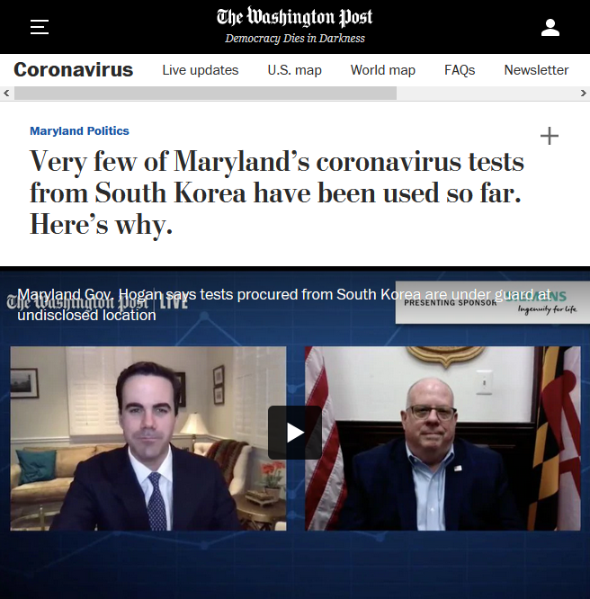 WaPo: Very few of Maryland's coronavirus tests from South Korea have been used so far. Here's why.