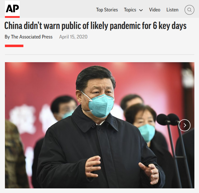 AP: China didn't warn public of likely pandemic for 6 key days