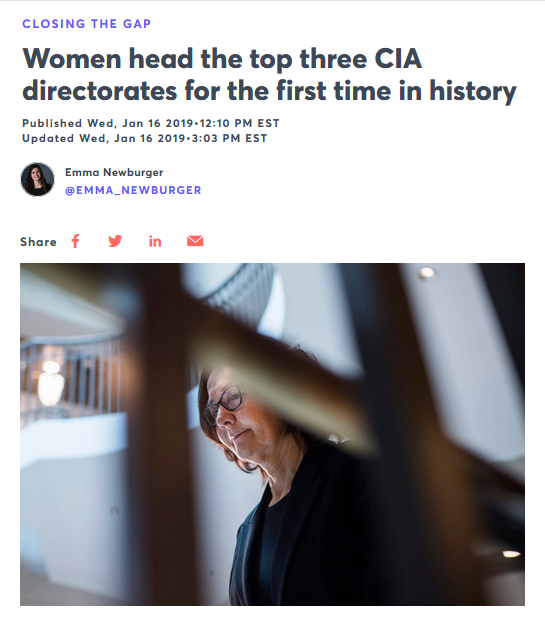 CNBC: Women head the top three CIA directorates for the first time in history