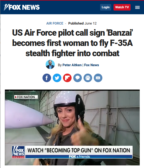 Fox: US Air Force pilot call sign 'Banzai' becomes first woman to fly F-35A stealth fighter into combat