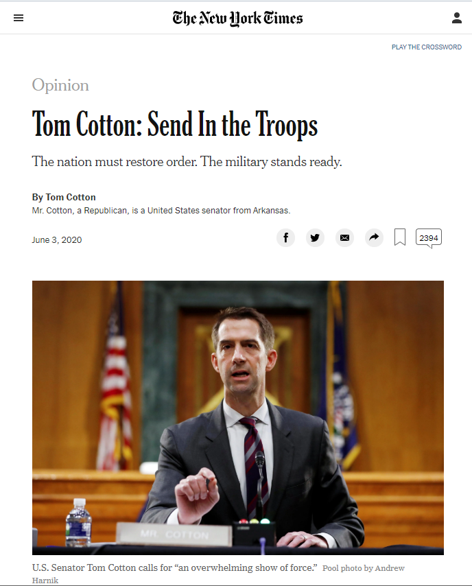New York TImes: Send in the Troops