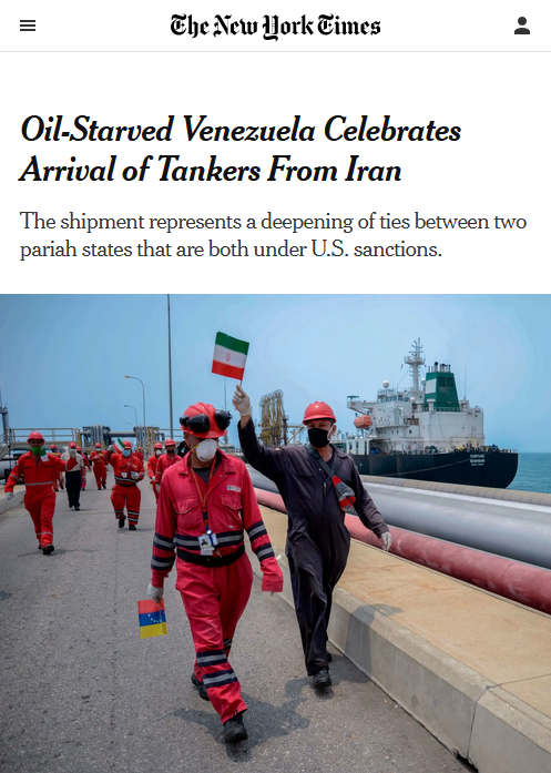 NYT: Oil-Starved Venezuela Celebrates Arrival of Tankers From Iran