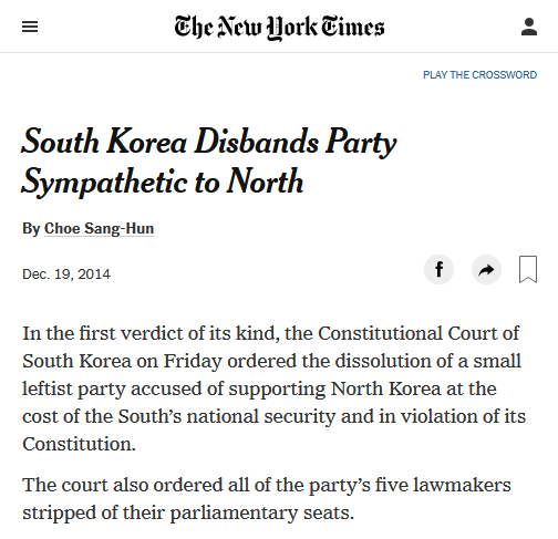NYT: South Korea Disbands Party Sympathetic to North