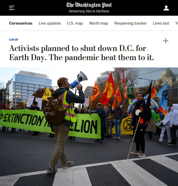 WaPo: Activists planned to shut down D.C. for Earth Day. The pandemic beat them to it.