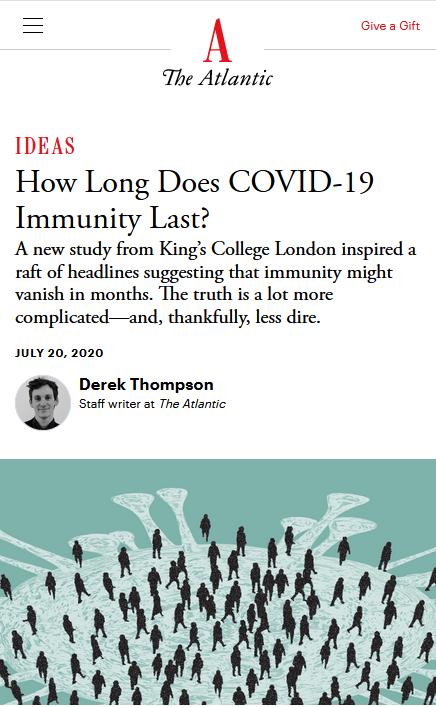 Atlantic: How Long Does Covid-19 Immunity Last?