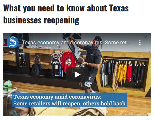 Austin American Statesman: What you need to know about Texas businesses reopening