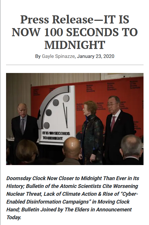 Bulletin of Atomic Scientists: IT IS NOW 100 SECONDS TO MIDNIGHT