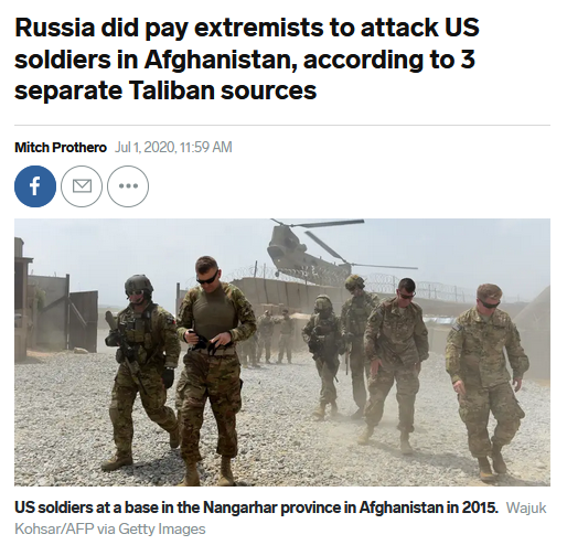 Business Insider: Russia did pay extremists to attack US soldiers in Afghanistan, according to 3 separate Taliban sources