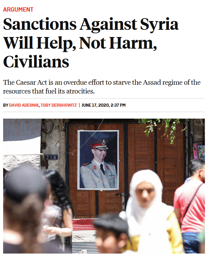 FP: Sanctions Against Syria Will Help, Not Harm, Civilians
