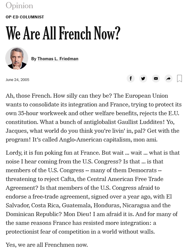 Thomas Friedman: We Are All French Now?
