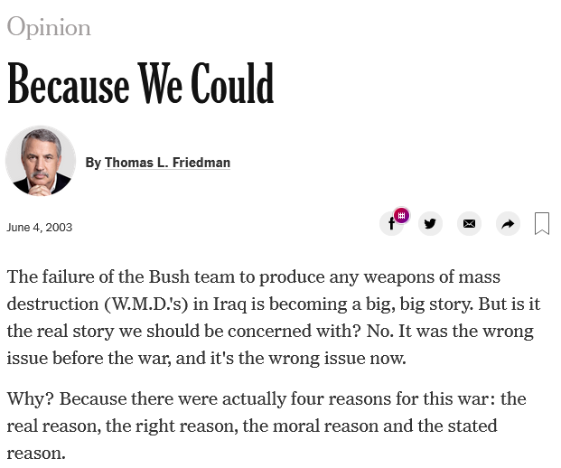 Thomas Friedman: Because We Could