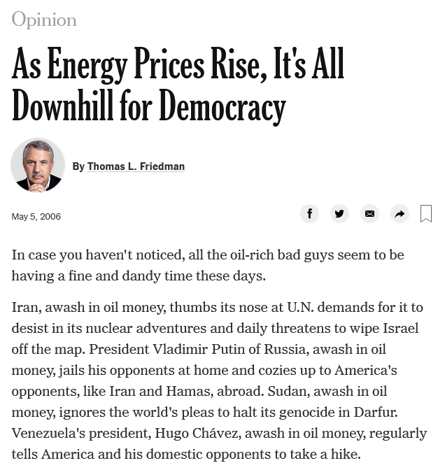 Thomas Friedman: As Energy Prices Rise, It's All Downhill for Democracy