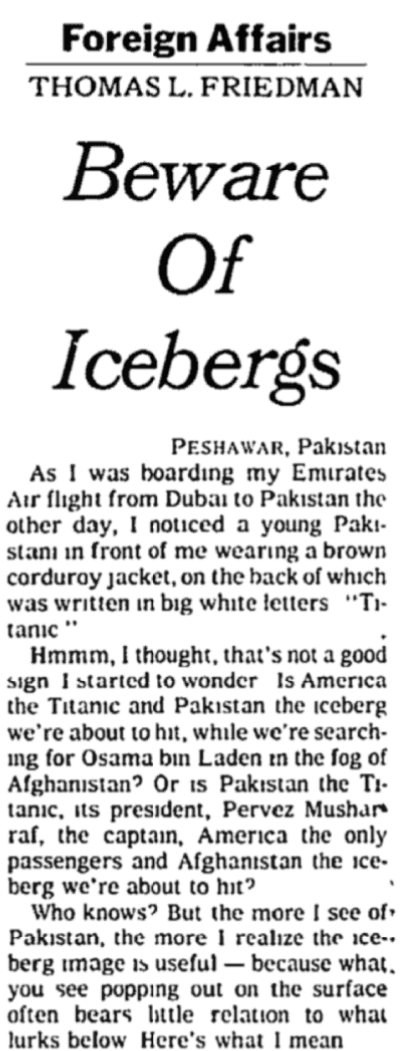 Thomas Friedman: Beware of Icebergs