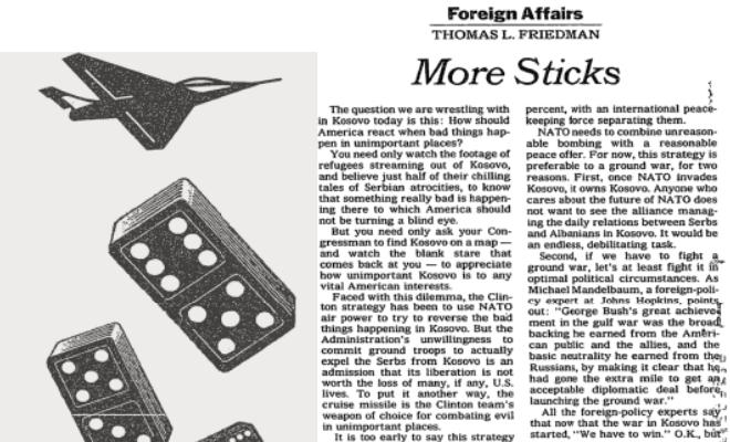 Thomas Friedman: More Sticks.